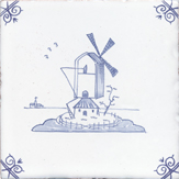 Blue delft windmill design tile