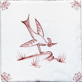 crimson delft bird design two