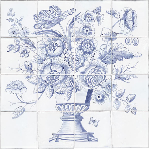 Nice tile panel images bathtub for bathroom ideas for Delft tile mural